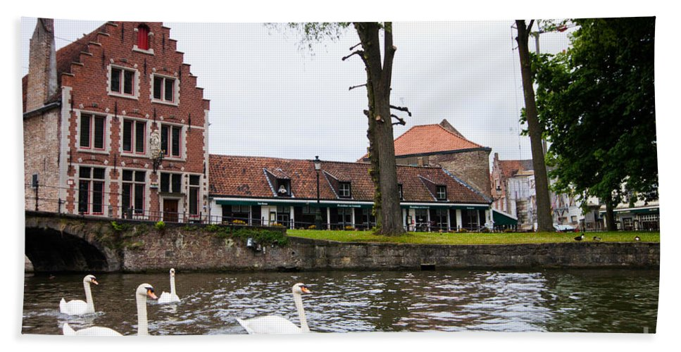 Europe Beach Towel featuring the photograph Brugge Canal Scene by Thomas Marchessault