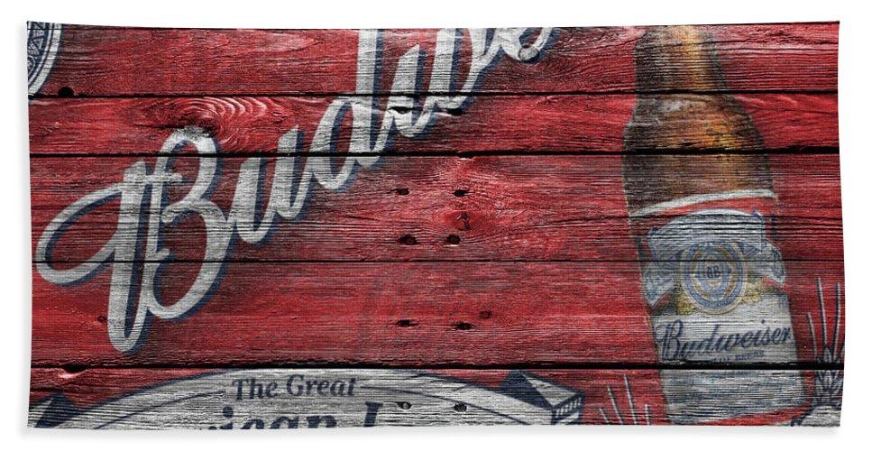 Budweiser Beach Towel featuring the photograph Budweiser by Joe Hamilton