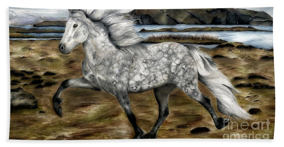 Icelandic Horse Beach Towel featuring the painting Charismatic Icelandic Horse by Shari Nees
