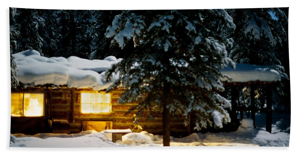 Backlit Beach Towel featuring the photograph Cozy Log Cabin At Moon-lit Winter Night by Stephan Pietzko