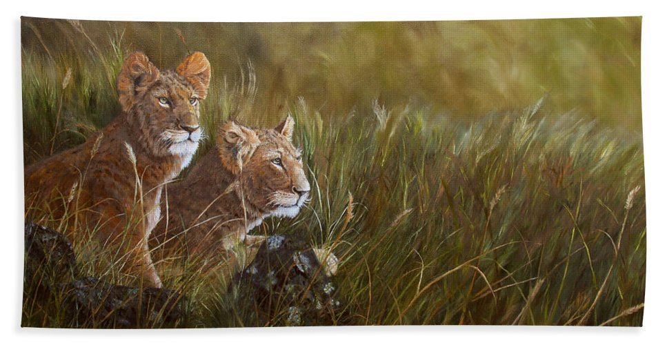 Lion Beach Towel featuring the painting Curious Anticipation by Johanna Lerwick