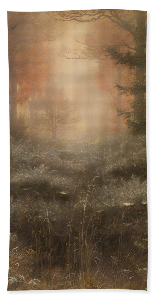 Painting Beach Towel featuring the painting Dew Drenched Furze by Mountain Dreams