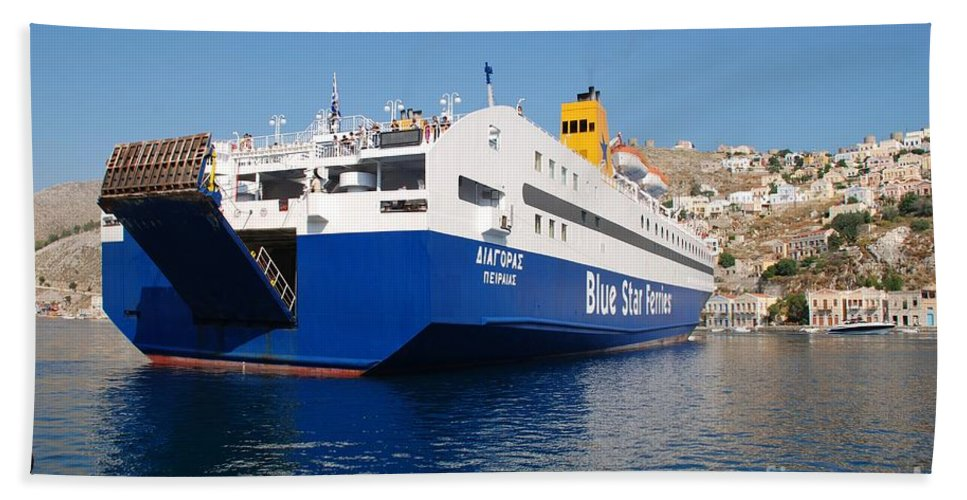 Symi Beach Towel featuring the photograph Diagoras Ferry Symi by David Fowler