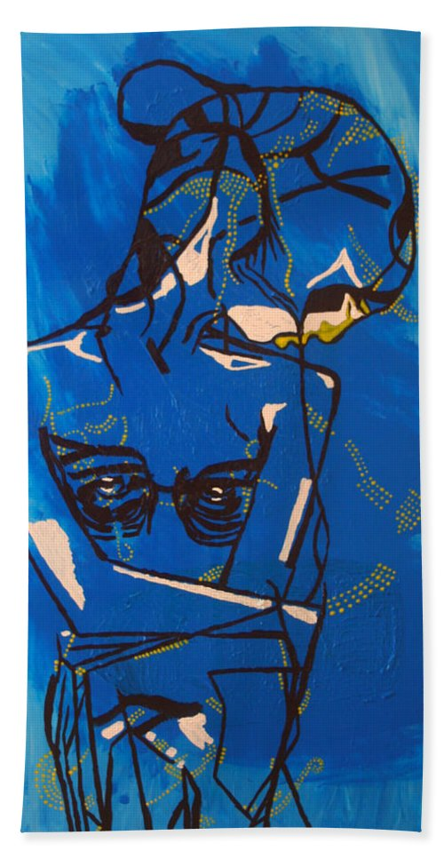 Jesus Beach Towel featuring the painting Dinka Painted Lady - South Sudan by Gloria Ssali