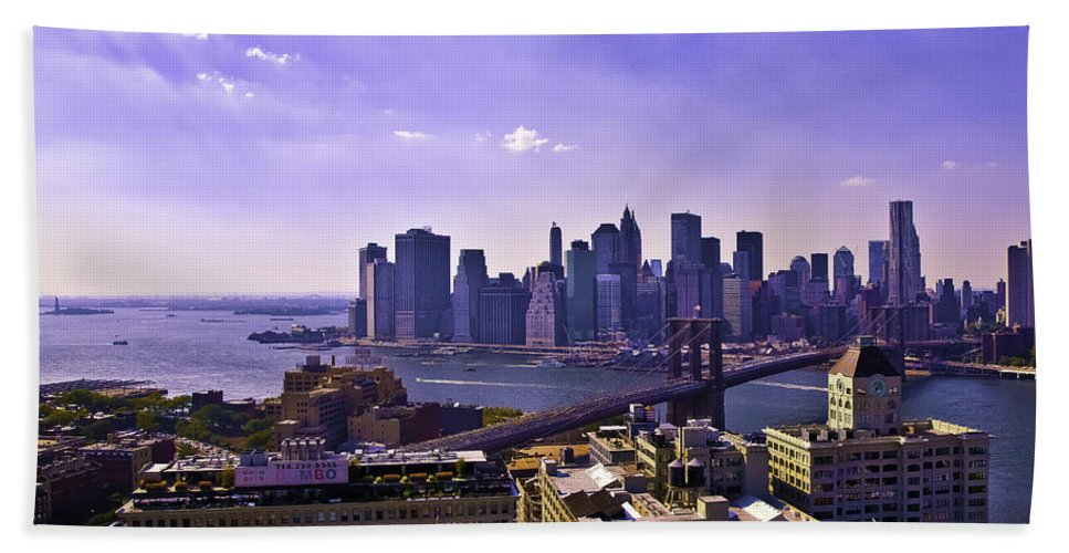 Dumbo Beach Towel featuring the photograph Dumbo View Of Lower Manhattan by Madeline Ellis