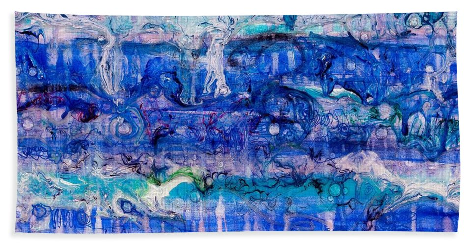 Ebb Beach Towel featuring the painting Ebb And Flow by Regina Valluzzi