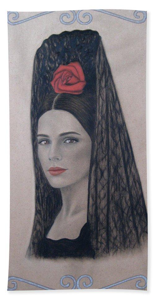 Elena Beach Towel featuring the painting Elena by Lynet McDonald
