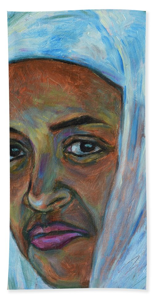 Ethiopian Beach Towel featuring the painting Ethiopian Lady by Xueling Zou