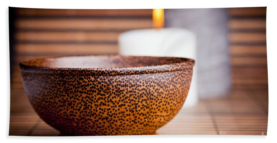Bowl Beach Towel featuring the photograph Exotic Bowl And Candles by Tim Hester