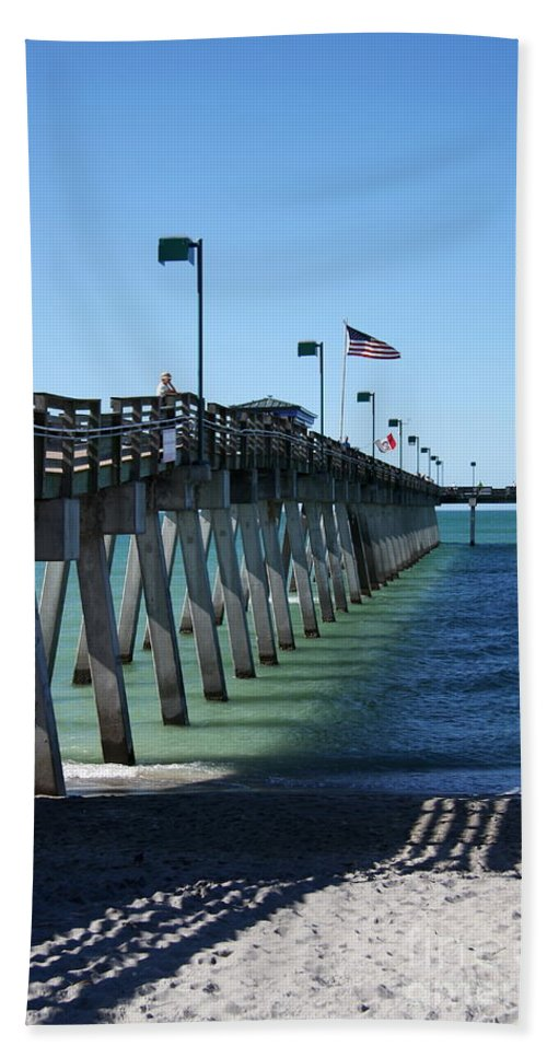 Fishing Pier Beach Towel featuring the photograph Fishing Pier by Christiane Schulze Art And Photography