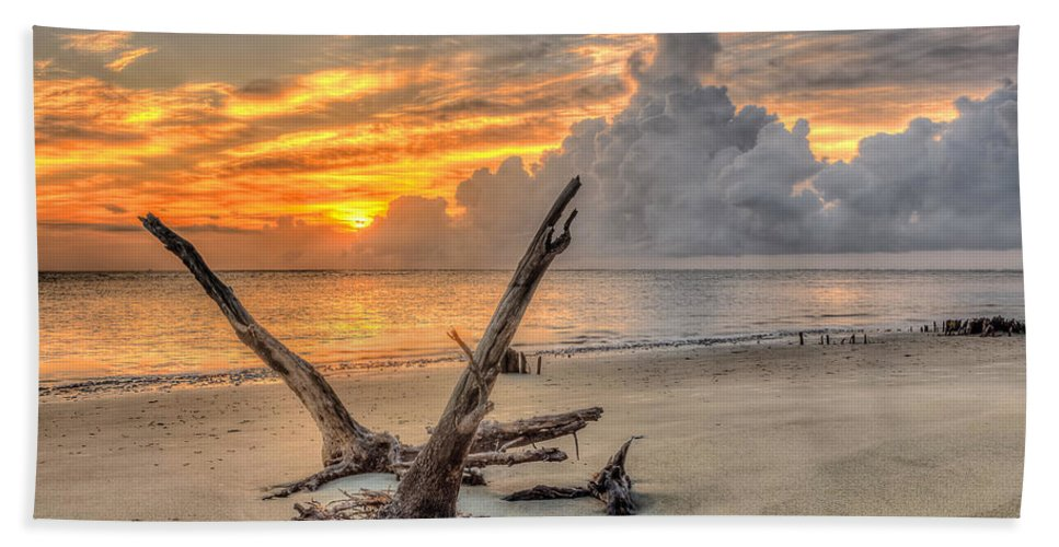 Folly Beach Beach Towel featuring the photograph Folly Beach Driftwood by Keith Allen
