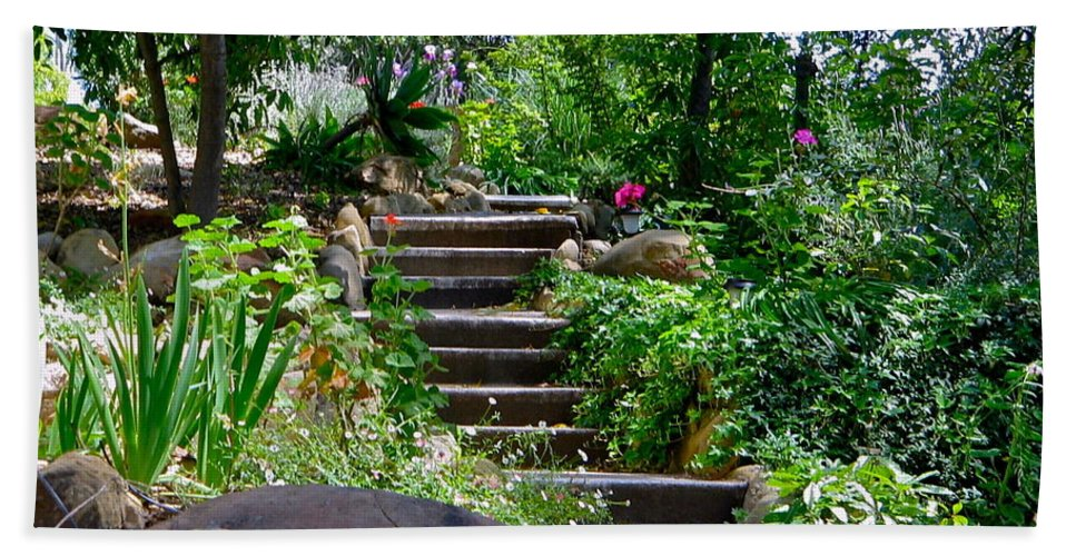 Garden Beach Towel featuring the photograph Garden Steps by Denise Mazzocco