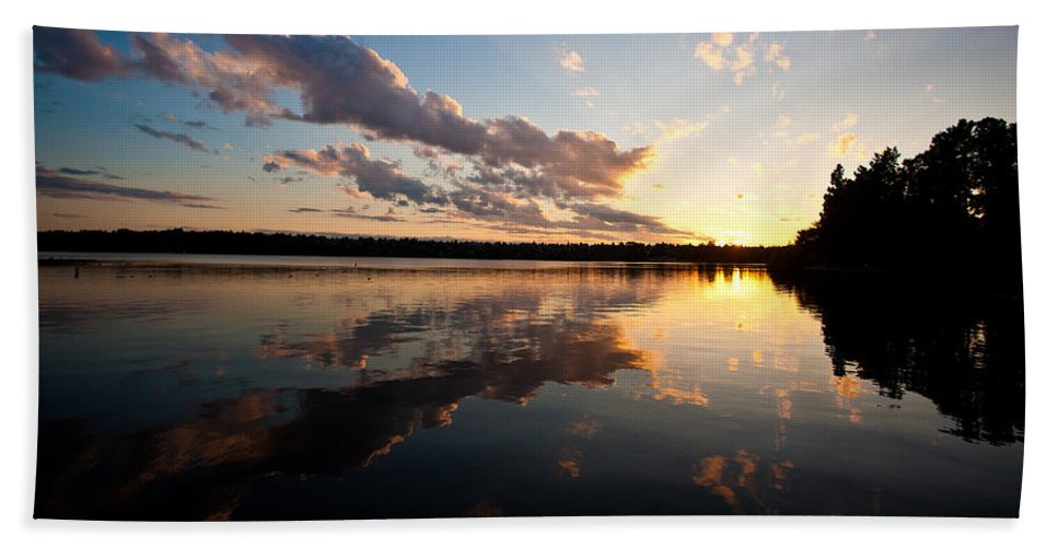 Greenlake Beach Towel featuring the photograph Greenlake Sunset by Mike Reid