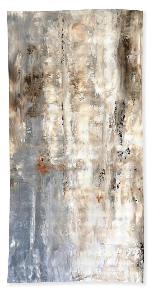 Brown Beach Towel featuring the painting Insightful - Grey and Brown Abstract Art Painting by CarolLynn Tice