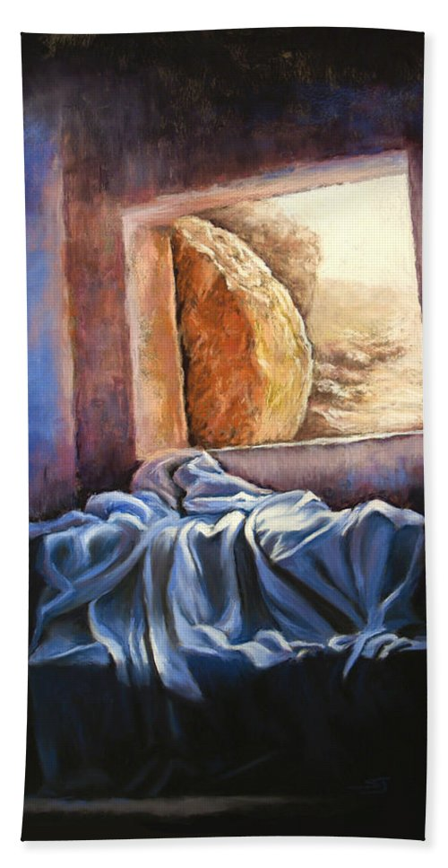 Christian Beach Towel featuring the pastel He Is Risen by Susan Jenkins