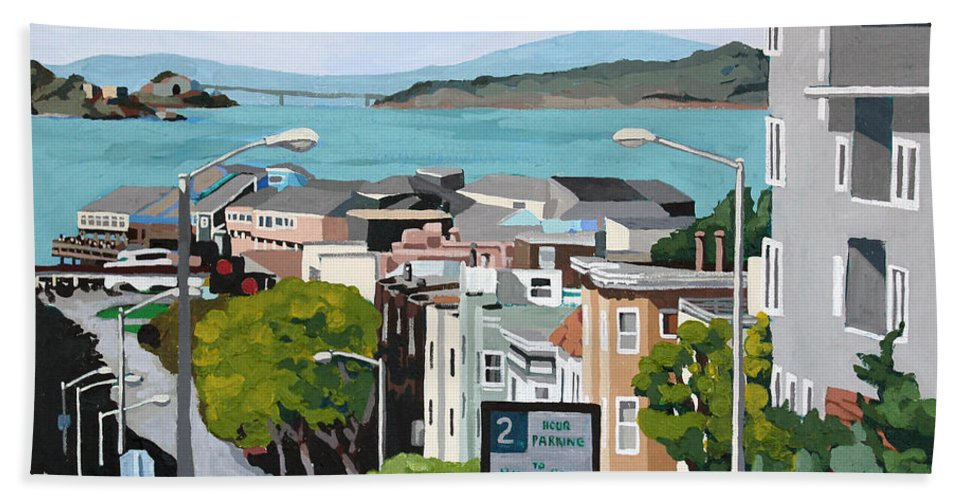San Francisco Beach Towel featuring the painting 2 Hour Parking by Melinda Patrick