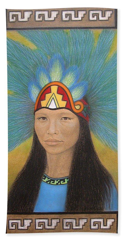 Ichpochtli Beach Towel featuring the painting Ichpochtli by Lynet McDonald