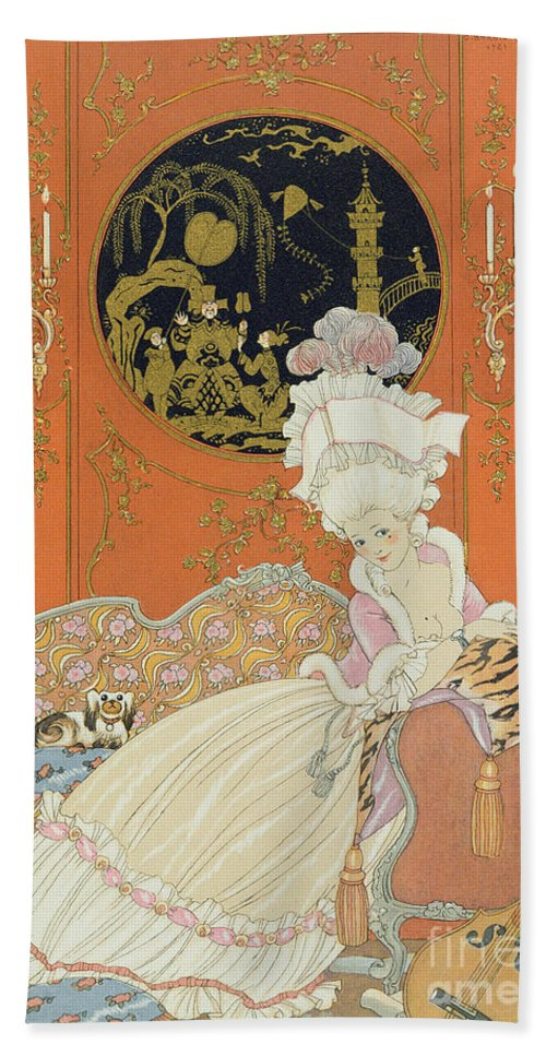 Female Beach Towel featuring the painting Illustration For 'fetes Galantes' by Georges Barbier