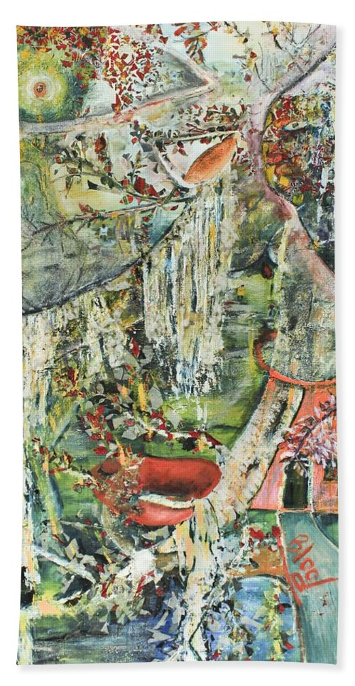 Landscape Beach Towel featuring the painting Island Wonder by Peggy Blood