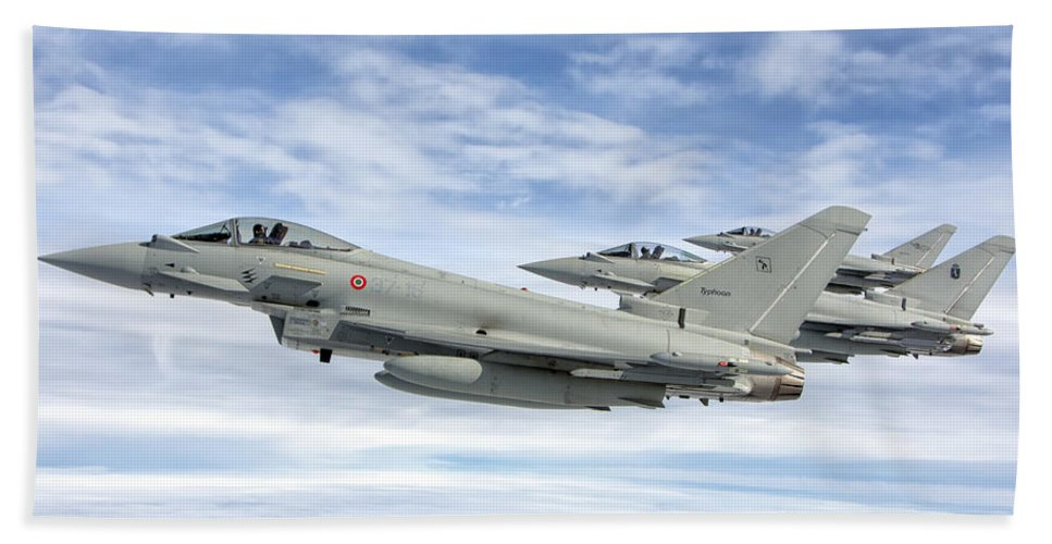 Horizontal Beach Towel featuring the photograph Italian Air Force F-2000 Typhoon by Giovanni Colla