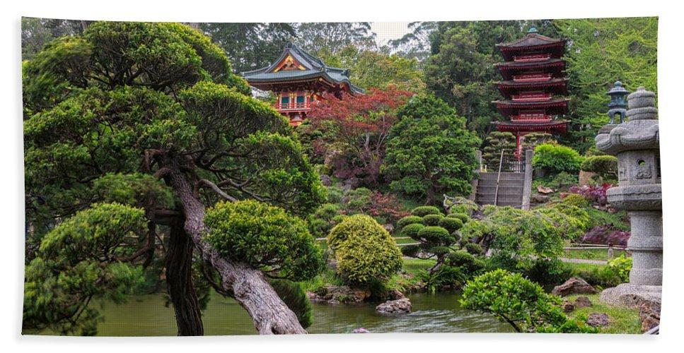 3scape Beach Towel featuring the photograph Japanese Tea Garden - Golden Gate Park by Adam Romanowicz