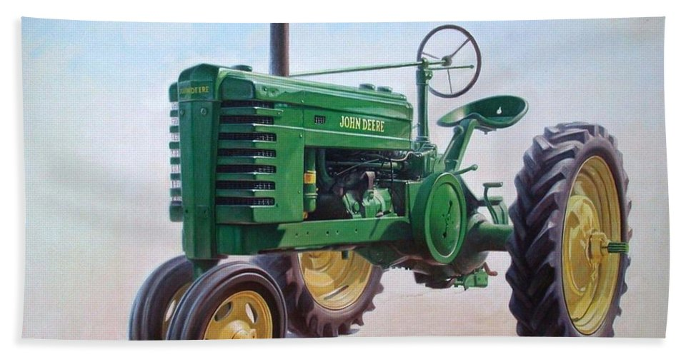 Tractor Beach Towel featuring the painting John Deere Tractor by Hans Droog