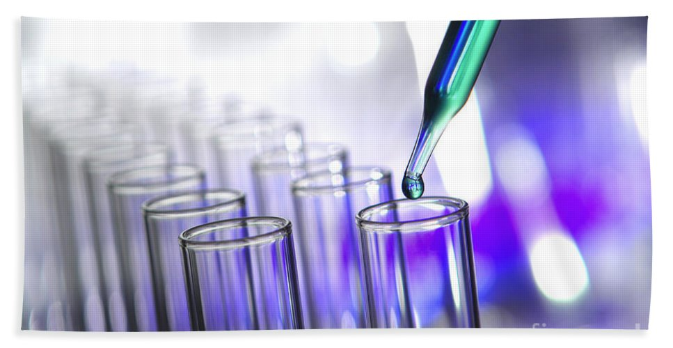 Test Beach Towel featuring the photograph Laboratory Test Tubes In Science Research Lab by Science Research Lab By Olivier Le Queinec