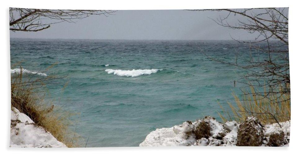 Lake Michigan Beach Towel featuring the photograph Lake Michigan In December by Linda Kerkau