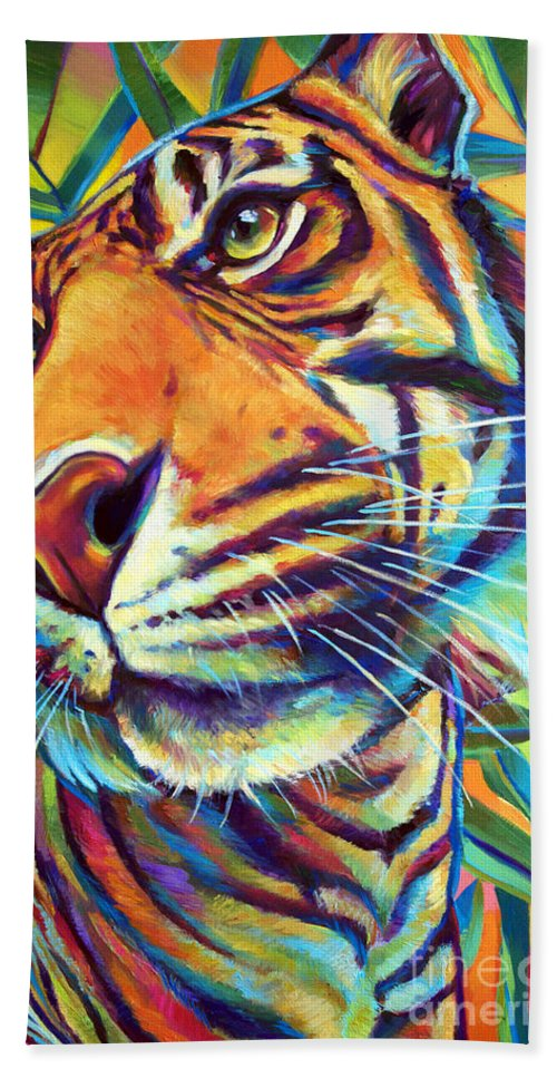 Nature Beach Towel featuring the painting Le Tigre by Robert Phelps