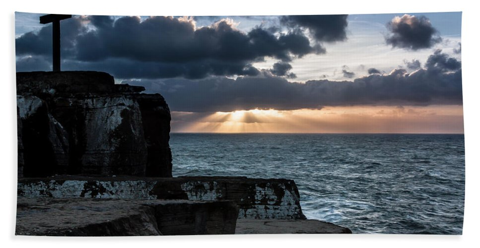 Rock Beach Towel featuring the photograph Light Behind The Darkness by Edgar Laureano
