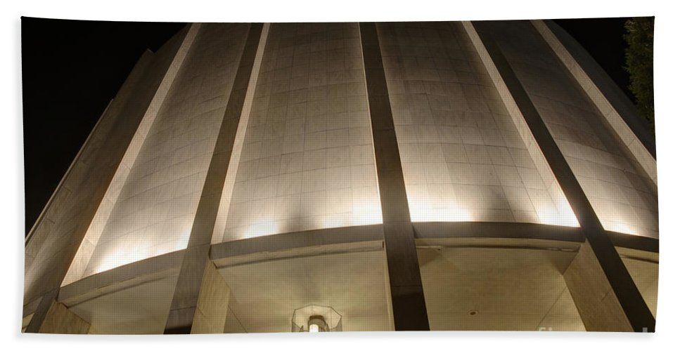 Founders Beach Towel featuring the photograph Looking Up Founders Hall At Night by Mark Dodd