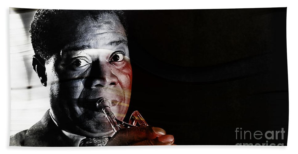 Louis Armstrong Paintings Beach Towel featuring the mixed media Louis Armstrong by Marvin Blaine