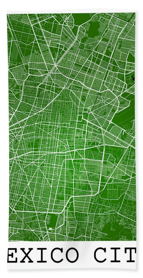 road map beach towel featuring the digital art mexico city street map mexico city mexico