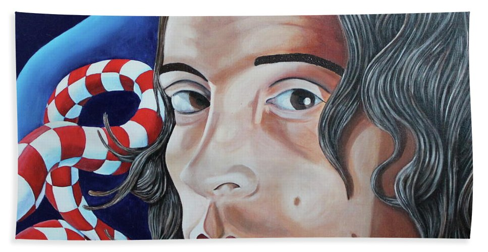 Mike Martinelli Beach Towel featuring the painting Michael by Don Martinelli