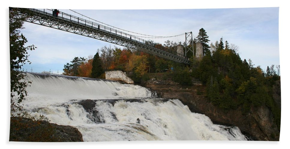 Waterfall Beach Towel featuring the photograph Montmorency Waterfall Canada by Christiane Schulze Art And Photography