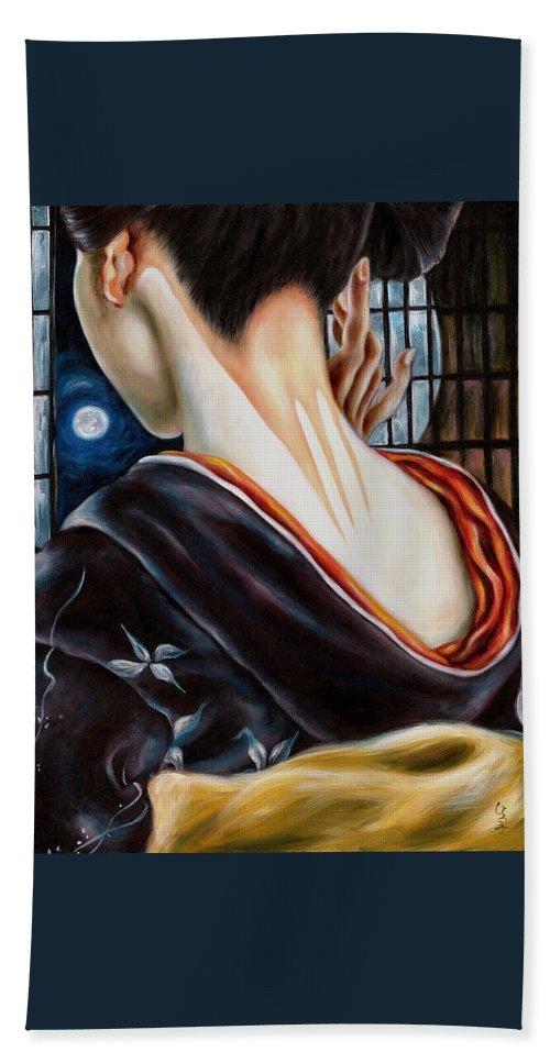 Japanese Woman Beach Towel featuring the painting Moon by Hiroko Sakai