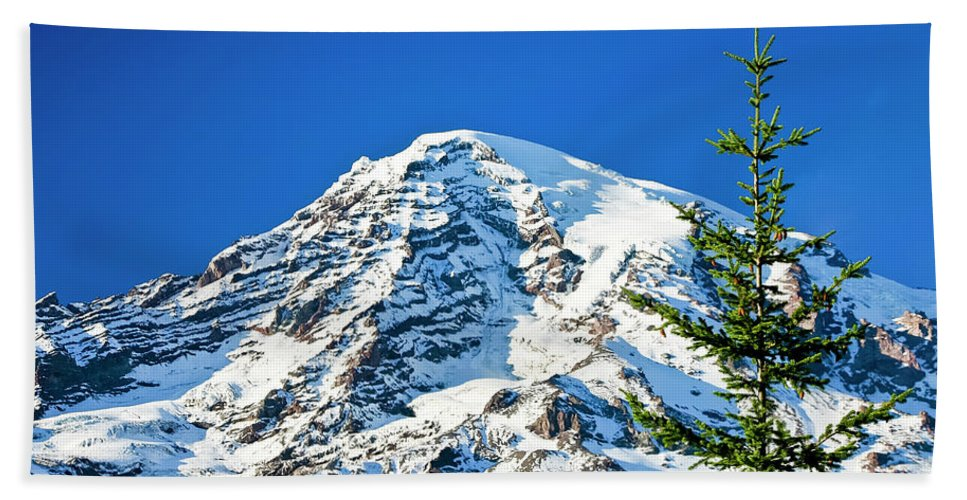 Northwest Beach Towel featuring the photograph Mt Rainier by Albert Seger