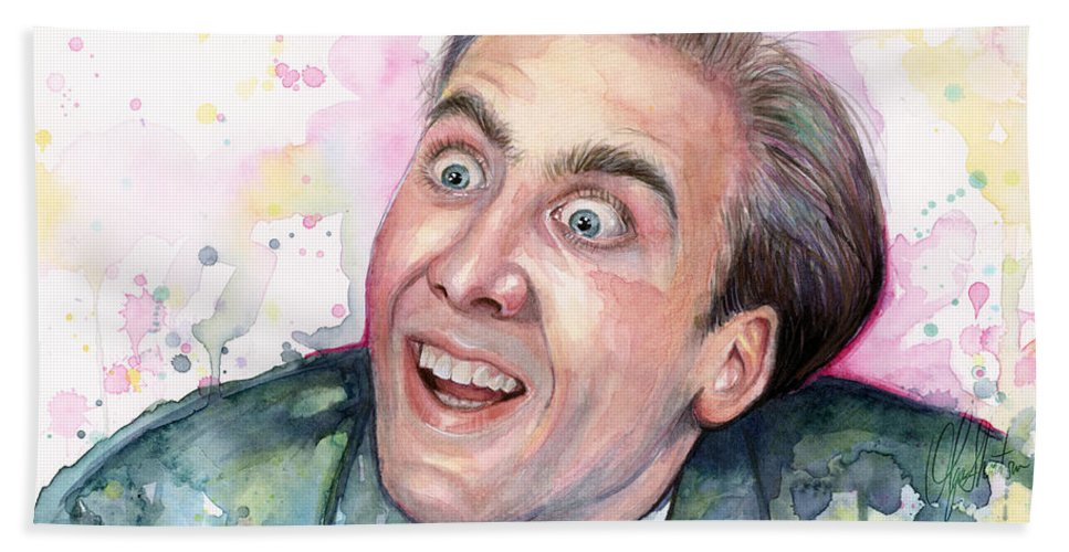 Nic Cage Beach Towel featuring the painting Nicolas Cage You Don't Say Watercolor Portrait by Olga Shvartsur