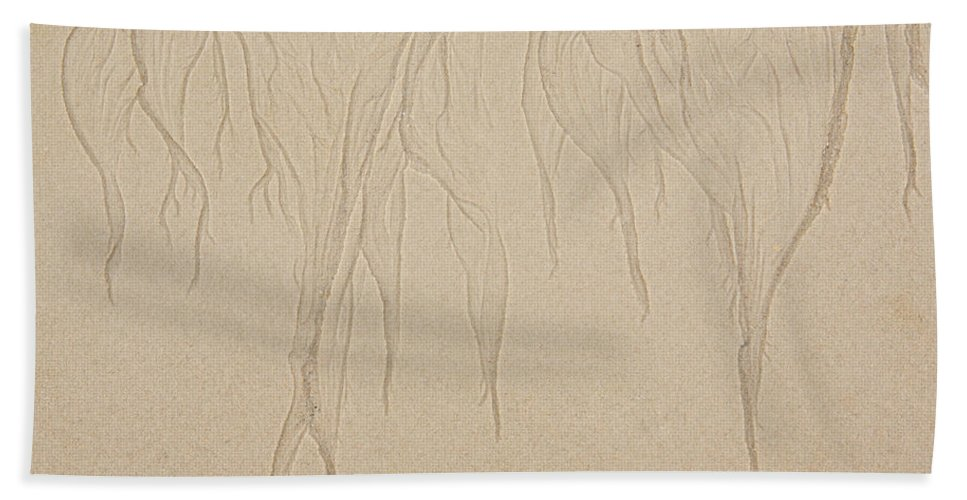 Iris Holzer Richardson Beach Towel featuring the photograph Ocean Sand Art Design From Top by Iris Richardson