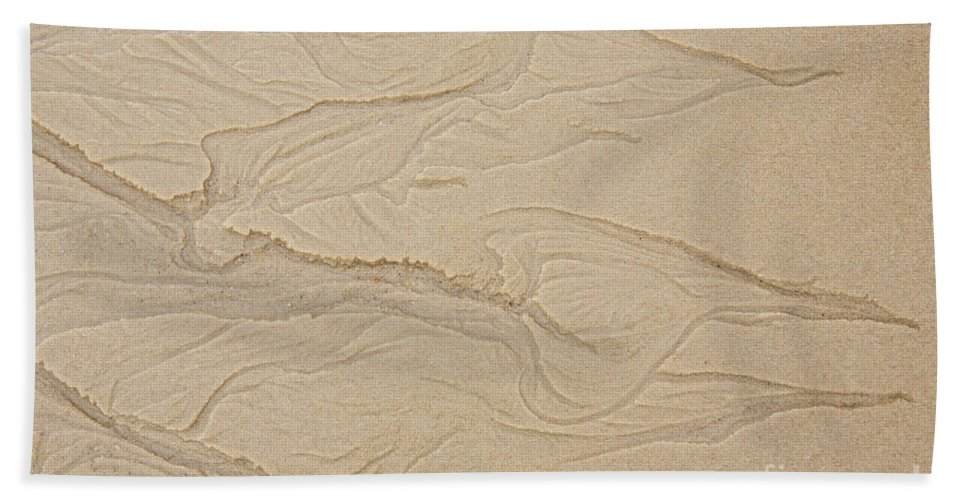 Iris Holzer Richardson Beach Towel featuring the photograph Ocean Sand Art Hearts Left Side by Iris Richardson
