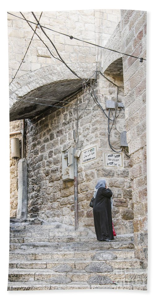 Alley Beach Towel featuring the photograph Old Town Street In Jerusalem Israel by Jacek Malipan