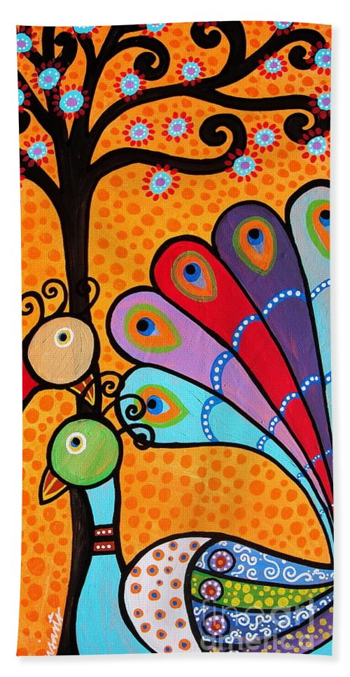 Abstract Beach Towel featuring the painting 2 Peacocks And Tree by Pristine Cartera Turkus
