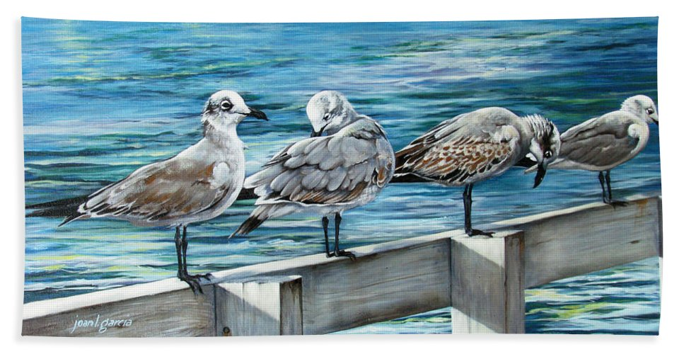 Seagulls Beach Towel featuring the painting Pier Gulls by Joan Garcia