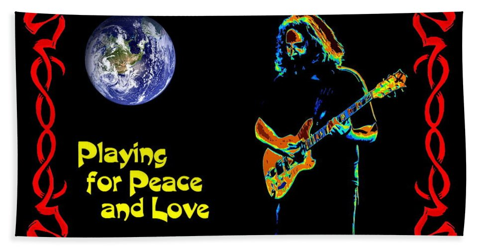 Jerry Garcia Beach Towel featuring the photograph Playing For Peace And Love 1 by Ben Upham