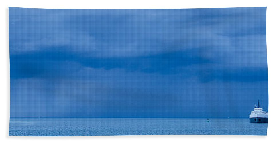 Fort Gratiot Lighthouse Beach Towel featuring the photograph Racing The Storm by Gales Of November