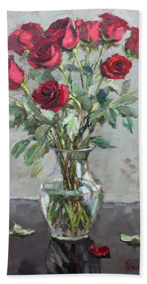 Red Roses Beach Sheet featuring the painting Red Roses by Ylli Haruni