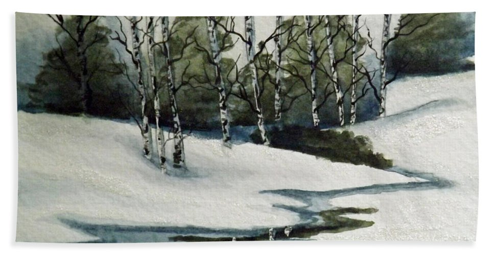 Winter Beach Towel featuring the painting Reflections Of Winter by Brenda Brown