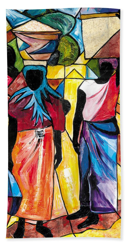 Everett Spruill Beach Towel featuring the painting Road to the Market by Everett Spruill