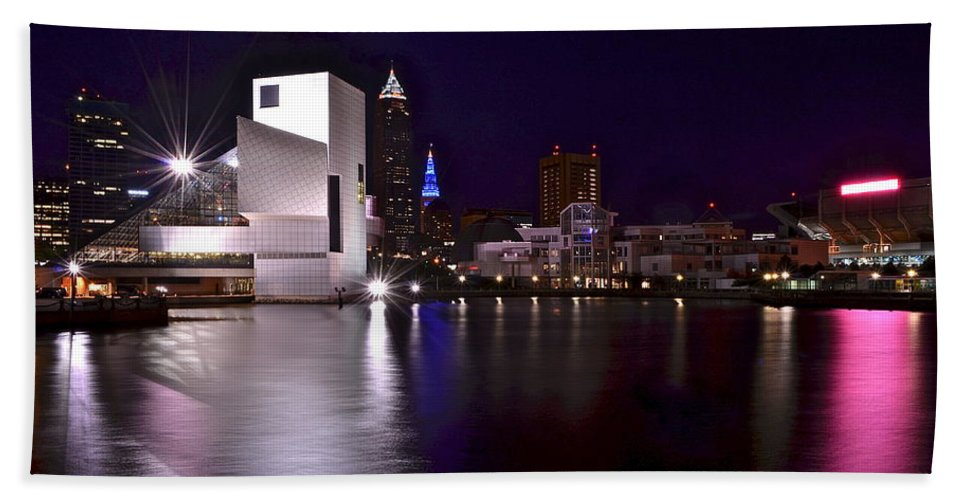 Rock Beach Towel featuring the photograph Rock And Roll Hall Of Fame by Frozen in Time Fine Art Photography