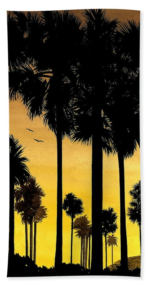 San Diego Sunset Beach Sheet featuring the painting San Diego Sunset by Larry Lehman